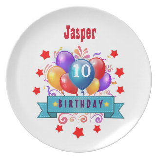 10th Birthday Festive Colorful Balloons V10FZ Plate