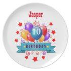 10th Birthday Festive Colourful Balloons V10FZ Plate