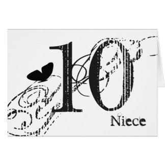10th birthday for a niece, black butterfly, text. greeting card