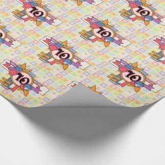 10th Birthday Fun Checkered and Cluster Design Wrapping Paper