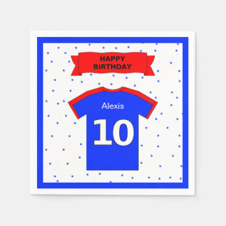 10th birthday party boys and girls add name paper napkin