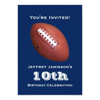 """10th Birthday Party Invitation, Football 5"""" X 7"""" Invitation Card"""