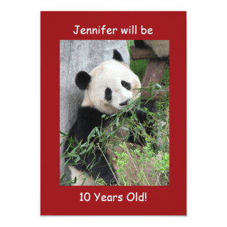10th Birthday Party Invitation Giant Panda Red