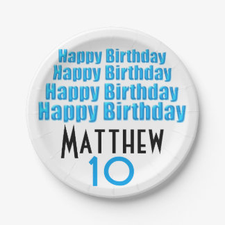 10th Birthday Party Personalized Paper Plates