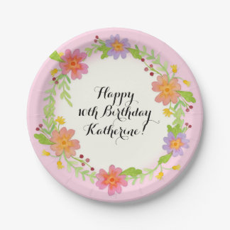 10th Birthday Party Watercolor Modern Floral Paper Plate