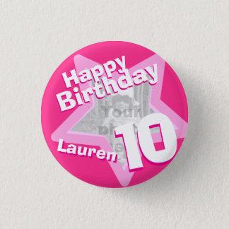 10th Birthday photo fun hot pink button/badge 1 Inch Round Button