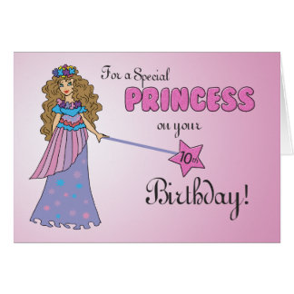 10th Birthday Pink Princess with Sparkly-Look Wand Card