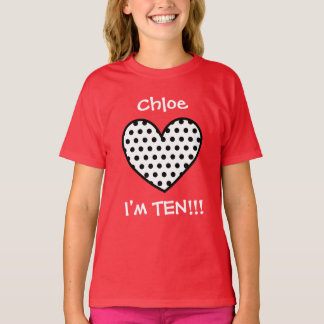 10th Birthday Polka Dot Heart W01P T-Shirt