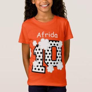 10th Birthday Polka Dots Custom Name V025A8 ORANGE T-Shirt