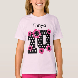 10th Birthday Polka Dots Custom Name V06A T-Shirt