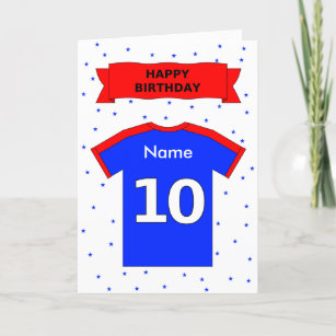10th Birthday Red Blue T Shirt Add A Name Card
