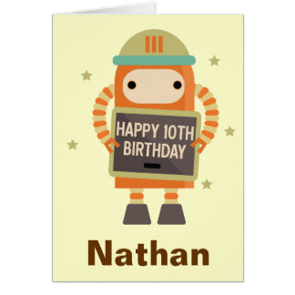 10th Birthday Robot vintage personalized card