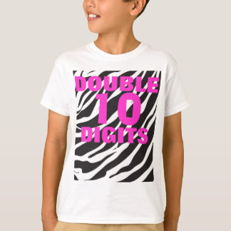 10th Birthday - Zebra and Hot Pink Double Digit T T-Shirt