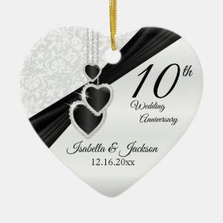 10th Black Onyx  and White Wedding Anniversary Ceramic Ornament