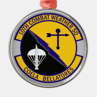 10th Combat Weather Squadron Silver-Colored Round Ornament