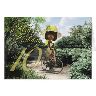 10th Happy Birthday Little Girl on Footpath Riding Greeting Card