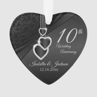 10th Onyx Wedding Anniversary Keepsake Design 2 Ornament