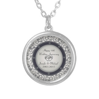 10th Silver Wedding Anniversary Silver Plated Necklace