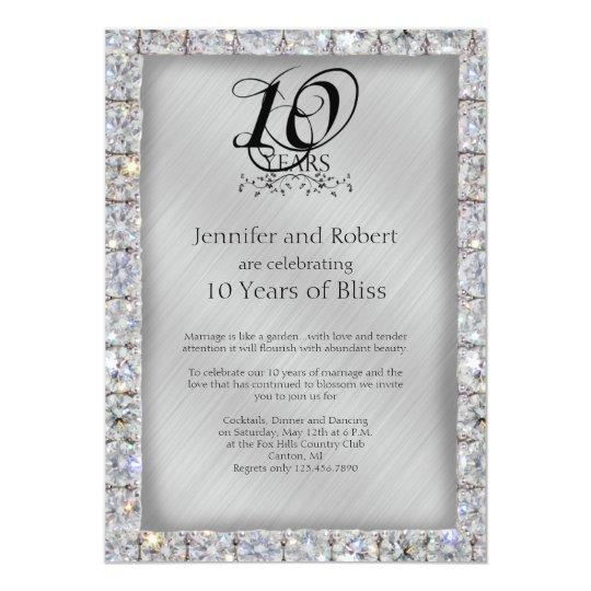 10th Tin And Diamond Wedding Anniversary Card