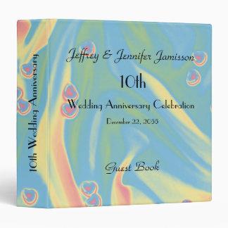 10th Wedding Anniversary Guest Book, Pastel Hearts Vinyl Binder