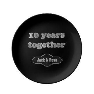 10th Wedding Anniversary Keepsake | 10 Years Chic Porcelain Plate