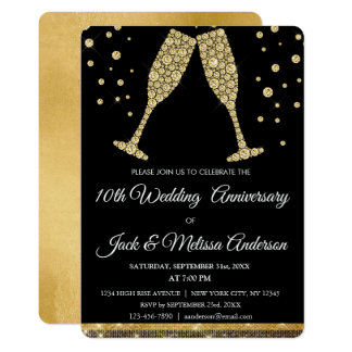 10th Wedding Anniversary Party Champagne Glasses Card