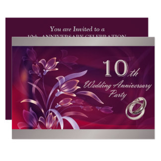 10th Wedding Anniversary Party Invitations
