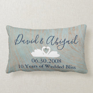 10th Wedding Anniversary swans Blue and Copper Lumbar Pillow