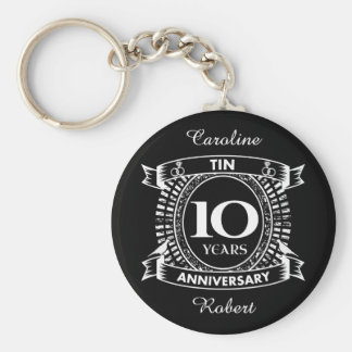 10TH wedding anniversary tin Keychain