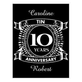 10TH wedding anniversary tin Postcard