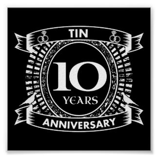 10TH wedding anniversary tin Poster