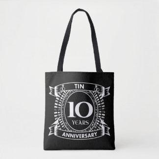 10TH wedding anniversary tin Tote Bag