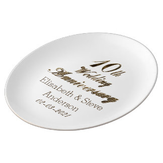 10th Wedding Anniversary Typography Elegant Gold Porcelain Plates