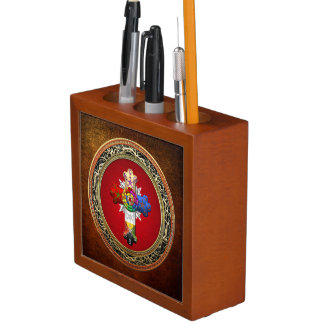 [110] Rosy Cross (Rose Croix) on Red & Gold Desk Organizer