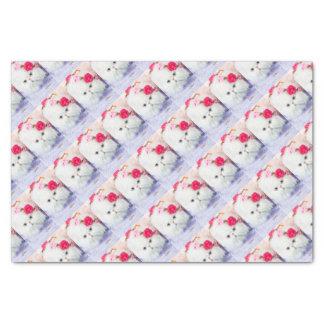 11323-158 White Persian Cat Princess Winnie roses Tissue Paper