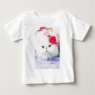 11323-158 White Persian Cat with Pink Roses Baby T-Shirt