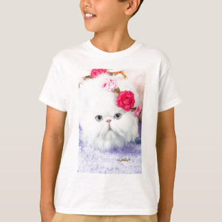 11323-158 White Persian Cat with Pink Roses T-Shirt