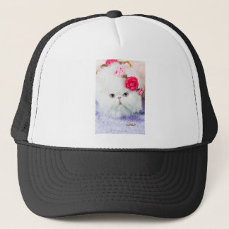 11323-158 White Persian Cat with Pink Roses Trucker Hat
