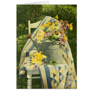 1138 Watering Can on Quilt Birthday Card