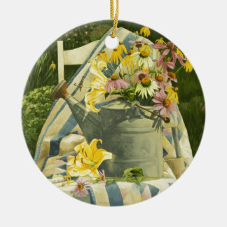 1138 Watering Can on Quilt in Garden Ceramic Ornament