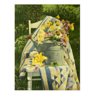 1138 Watering Can on Quilt in Garden Postcard