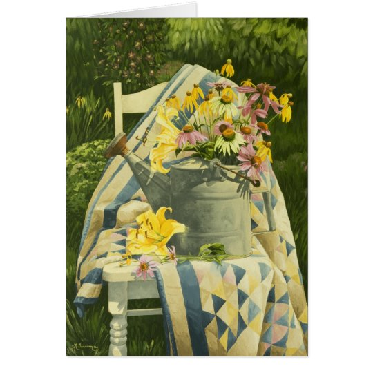 1138 Watering Can on Quilt Mother's Day Card