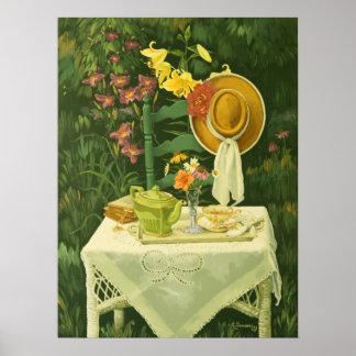 1144 Tea Time in Garden Art Print