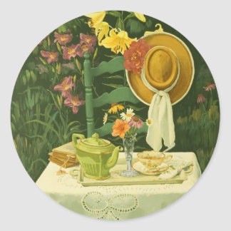 1144 Tea Time in Garden Classic Round Sticker
