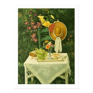 1144 Tea Time in Garden Postcard