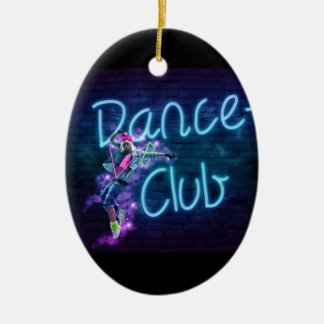 115 NEON DANCE CLUB DIGITAL REALISM GIRL HIPHOP PA CERAMIC OVAL ORNAMENT