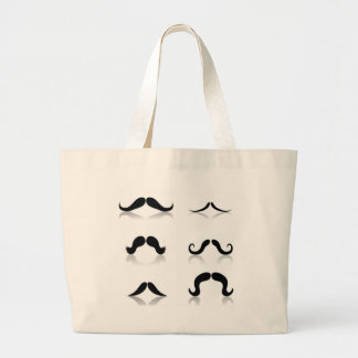 116Set of Mustaches_rasterized Large Tote Bag