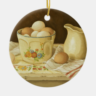 1175 Bowl of Eggs & Pitcher Ceramic Ornament