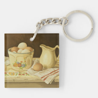 1175 Bowl of Eggs & Pitcher Double-Sided Square Acrylic Keychain