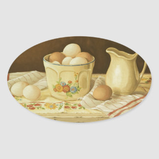1175 Bowl of Eggs & Pitcher Oval Sticker